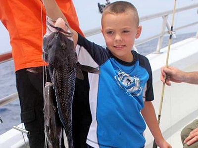 Child fishing with their parents holding up a black sea bass and triggerfish on an offshore bottom fishing charter on the Outer Banks.